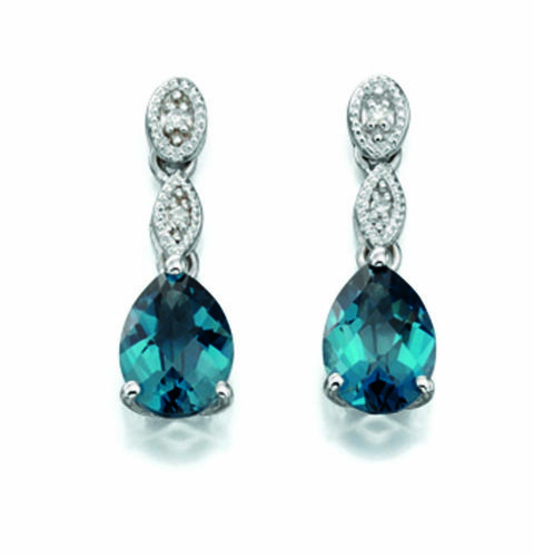 London Blue Topaz 9 Carat White Gold Earrings GE884T